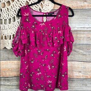 Lane Bryant Floral cold shoulder 22 Pink Blouse